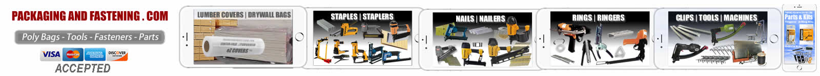 Buy pneumatic nail guns, air and manual staplers. Hog rings, ring pliers and Hartco clip tool for aluminium, galvanized and stainless steel nails - staples - hog rings or clips